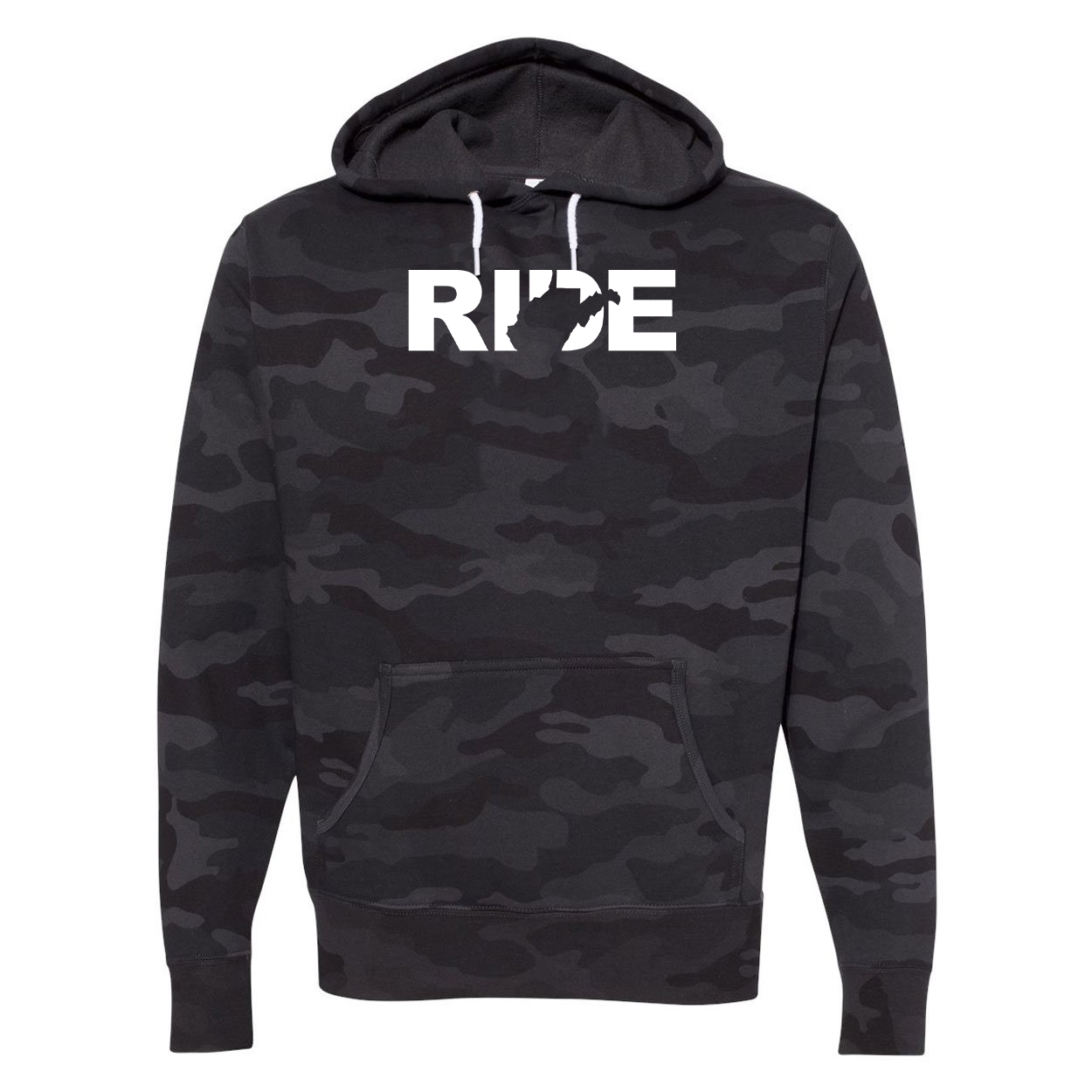 Ride West Virginia Classic Unisex Hooded Sweatshirt Black Camo (White Logo)