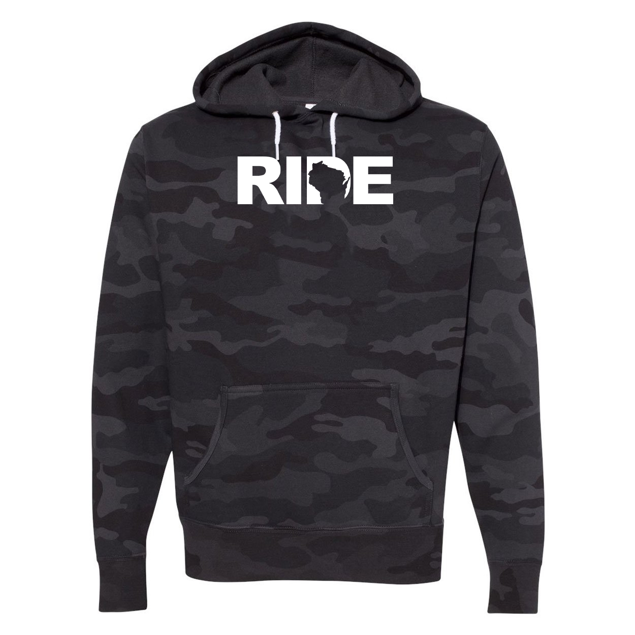 Ride Wisconsin Classic Unisex Hooded Sweatshirt Black Camo (White Logo)