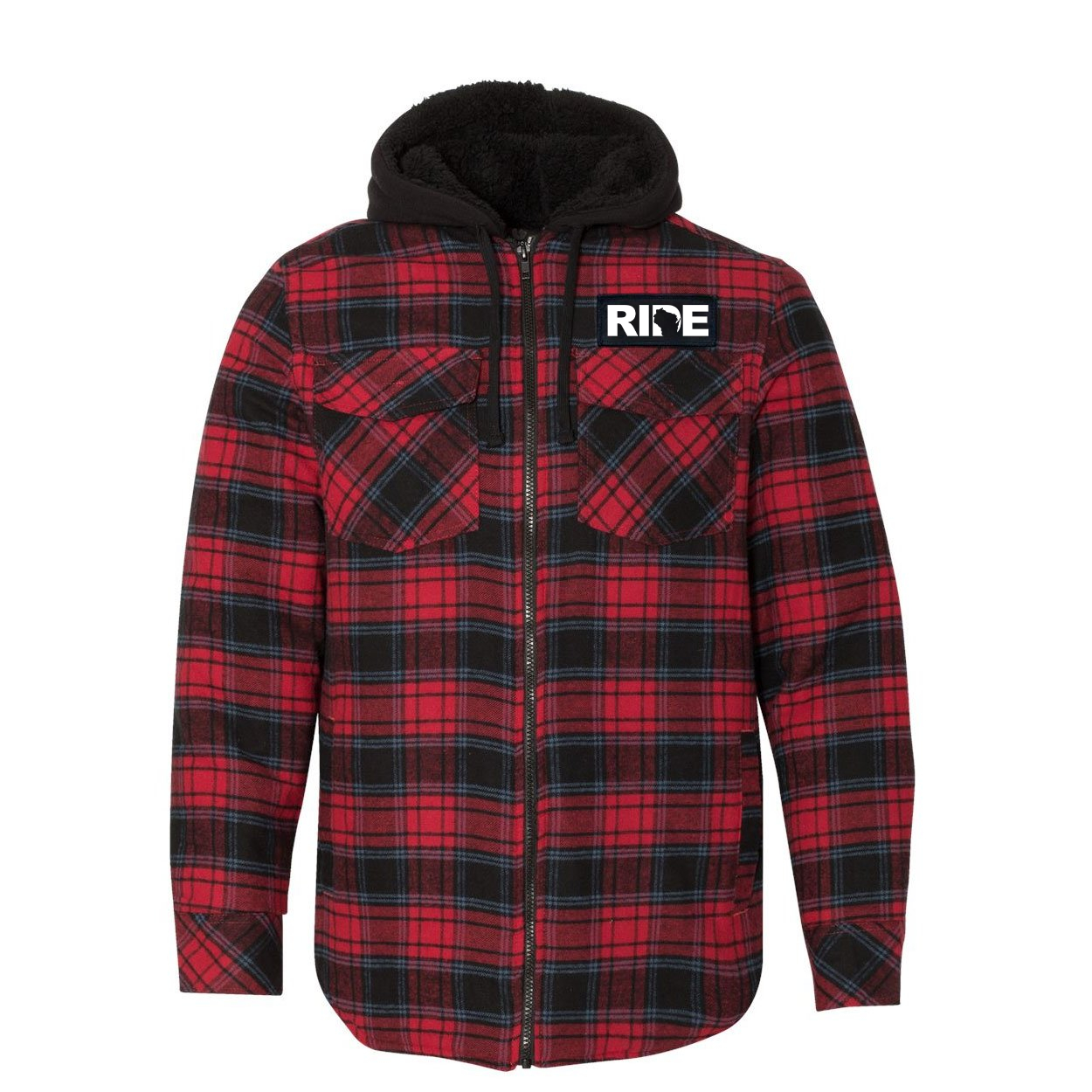 Ride Wisconsin Classic Unisex Full Zip Woven Patch Hooded Flannel Jacket Red/Black Buffalo (White Logo)