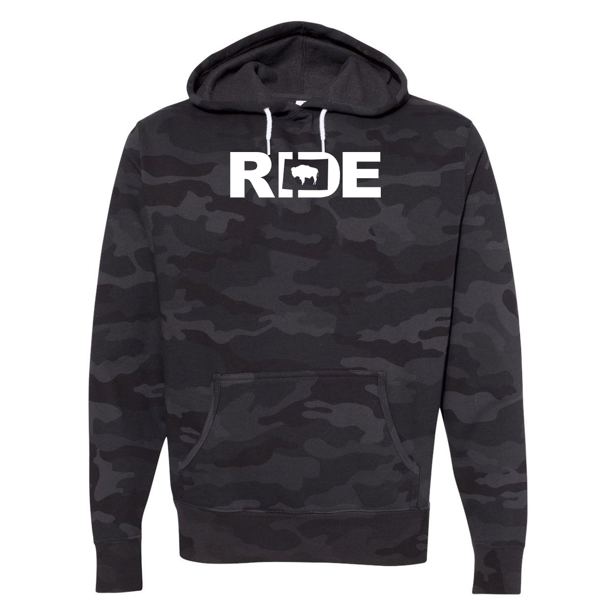 Ride Wyoming Classic Unisex Hooded Sweatshirt Black Camo (White Logo)