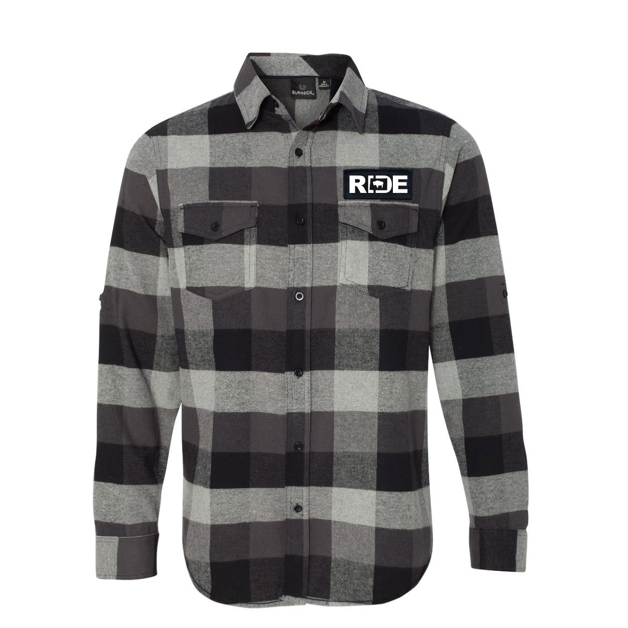 Ride Wyoming Classic Unisex Long Sleeve Woven Patch Flannel Shirt Black/Gray (White Logo)