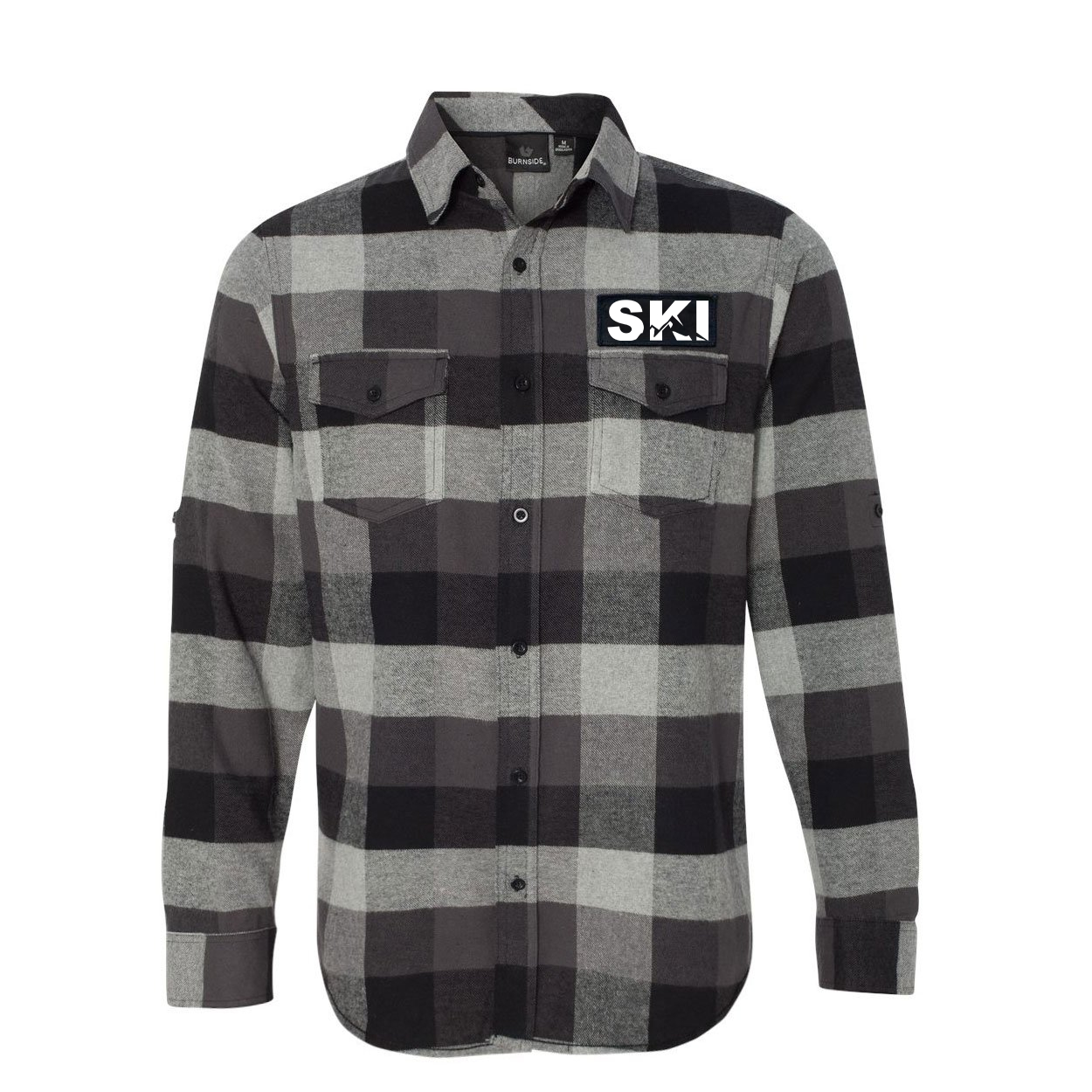 Ski Mountain Logo Classic Unisex Long Sleeve Woven Patch Flannel Shirt Black/Gray (White Logo)