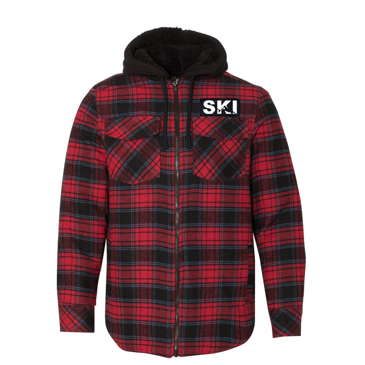 Ski Mountain Logo Classic Unisex Full Zip Woven Patch Hooded Flannel Jacket Red/Black Buffalo (White Logo)