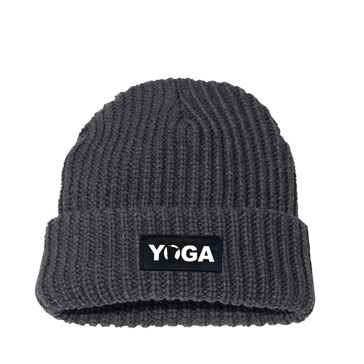 Yoga Minnesota Night Out Woven Patch Roll Up Jumbo Chunky Knit Beanie Charcoal (White Logo)