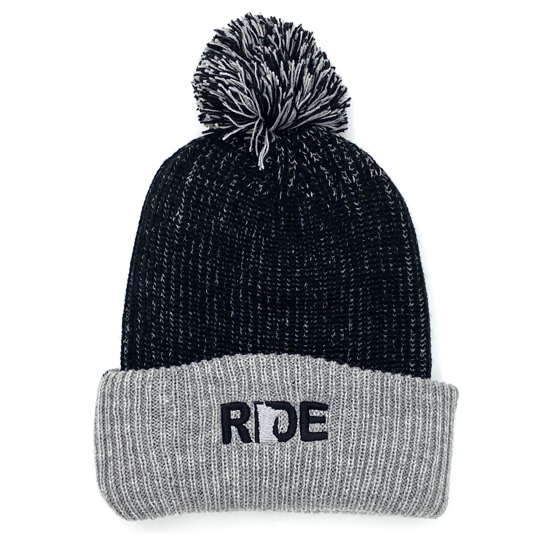 Ride Minnesota Night Out Embroidered Roll Up Pom Knit Beanie Black/Gray