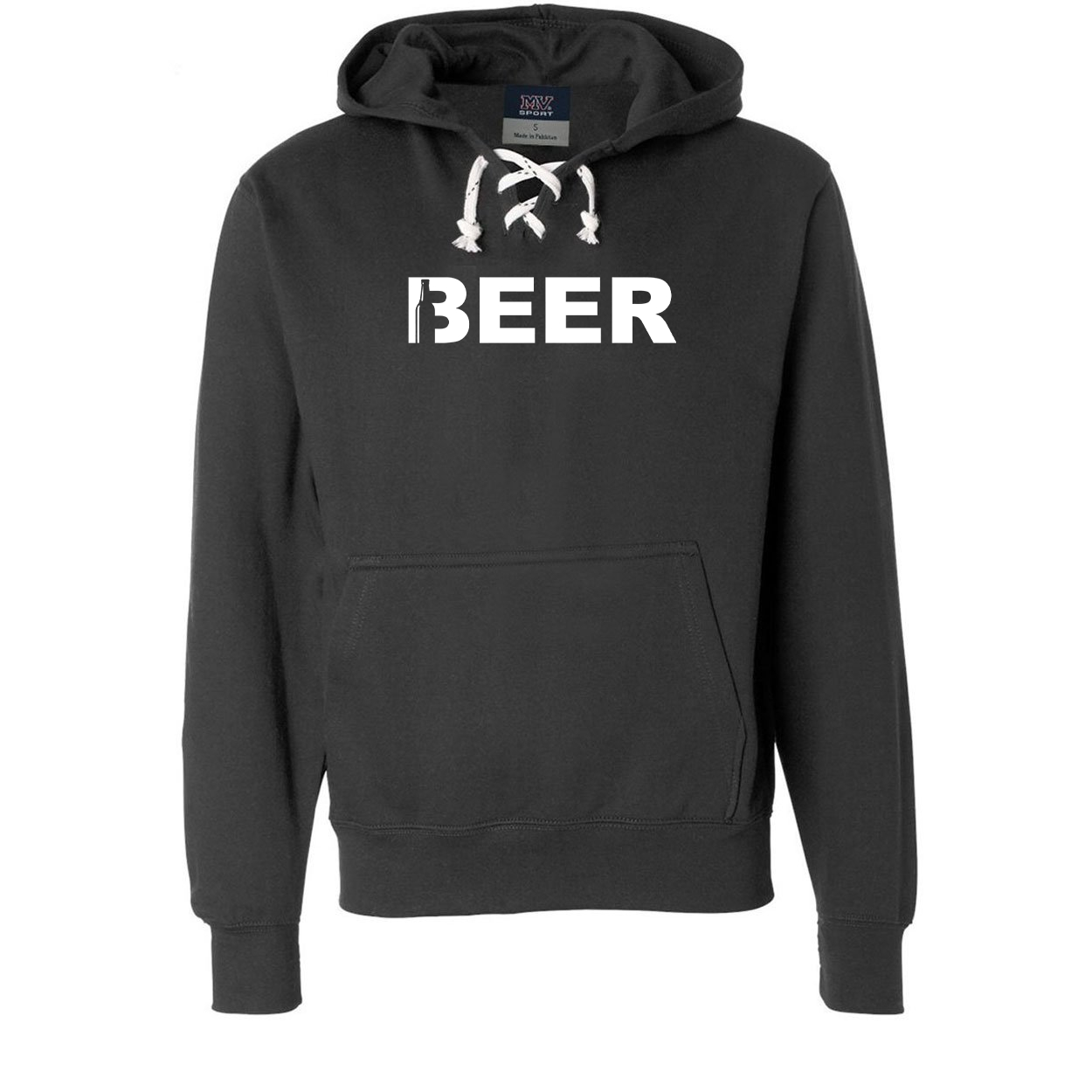 Beer Bottle Logo Classic Unisex Premium Hockey Sweatshirt Black (White Logo)