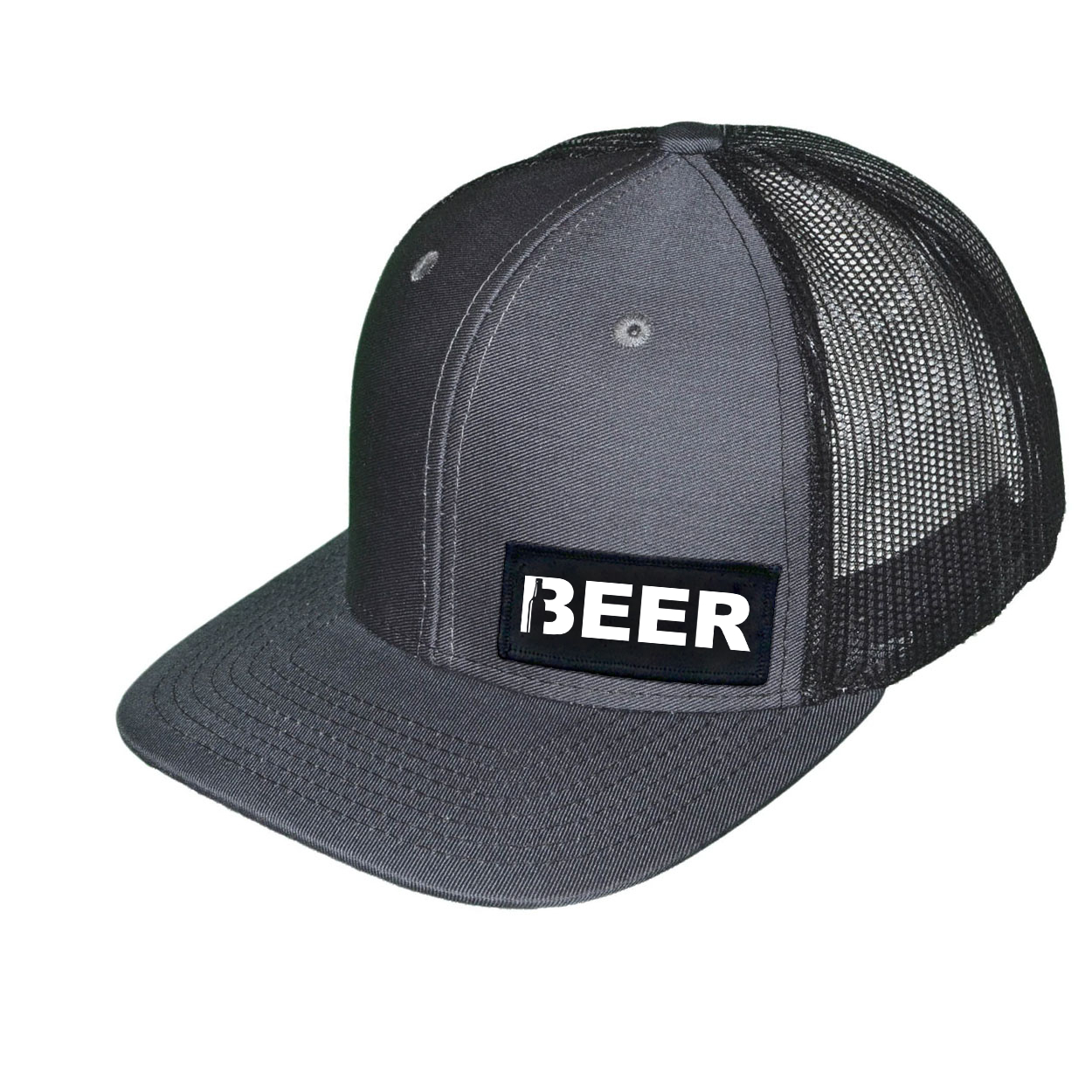 Beer Bottle Logo Night Out Woven Patch Snapback Trucker Hat Dark Gray/Black (White Logo)