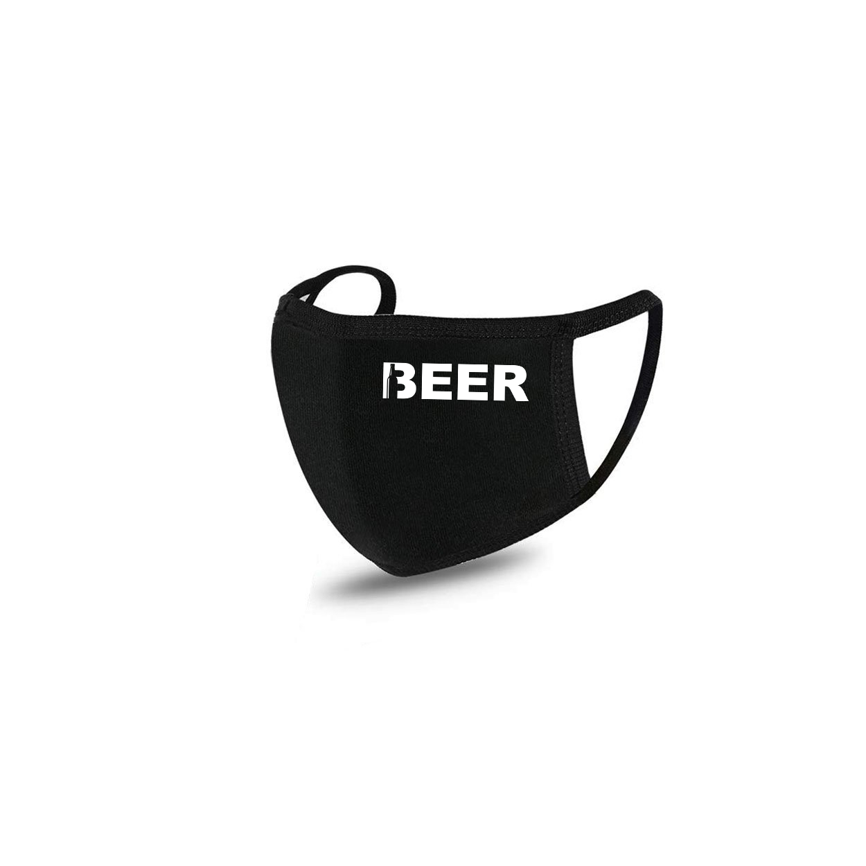 Beer Bottle Logo Standard Washable Face Mask Black (White Logo)
