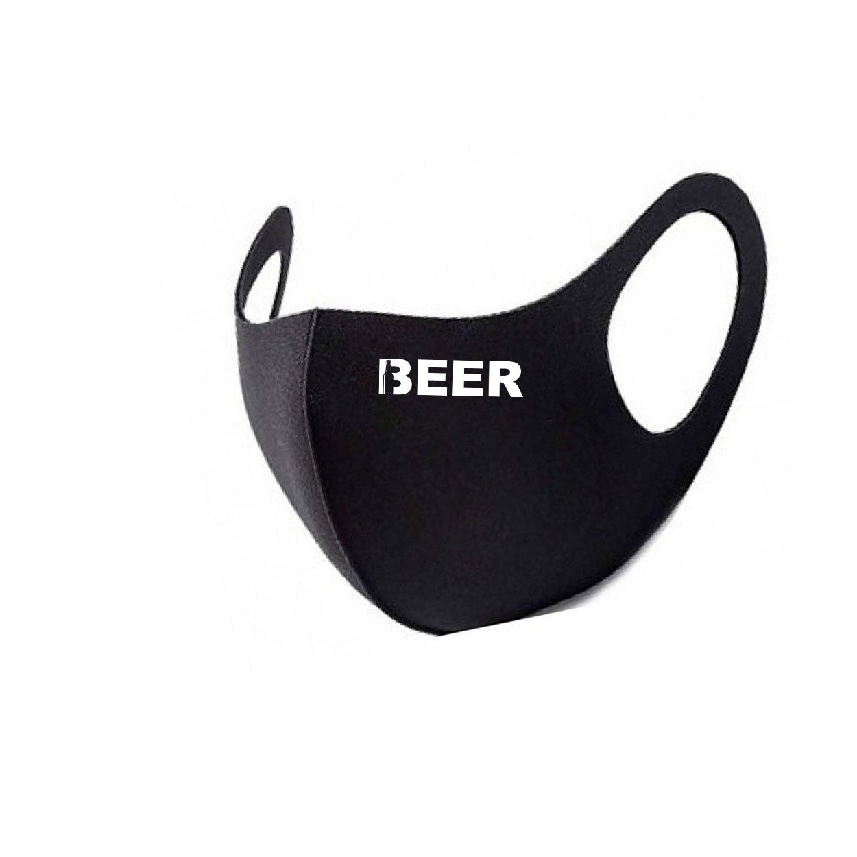 Beer Bottle Logo Night Out Fitted Washable Face Mask Black (White Logo)