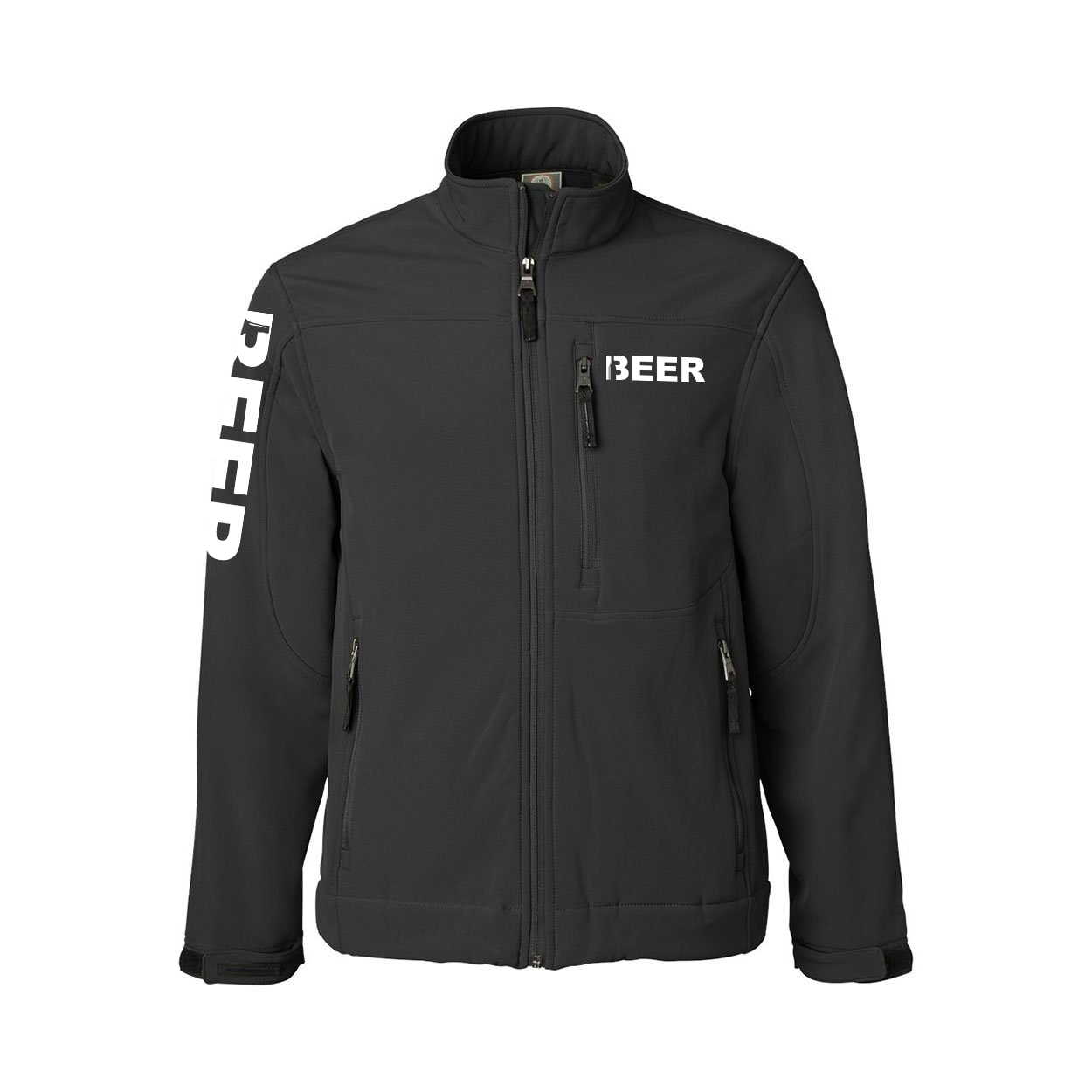 Beer Bottle Logo Classic Soft Shell Weatherproof Jacket (White Logo)