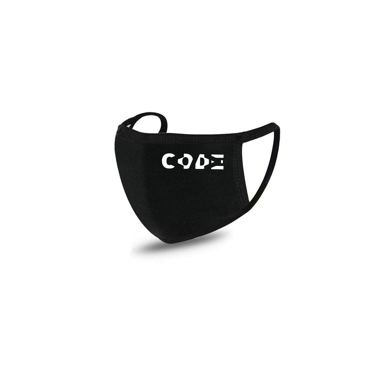 Code Tag Logo Standard Washable Face Mask Black (White Logo)