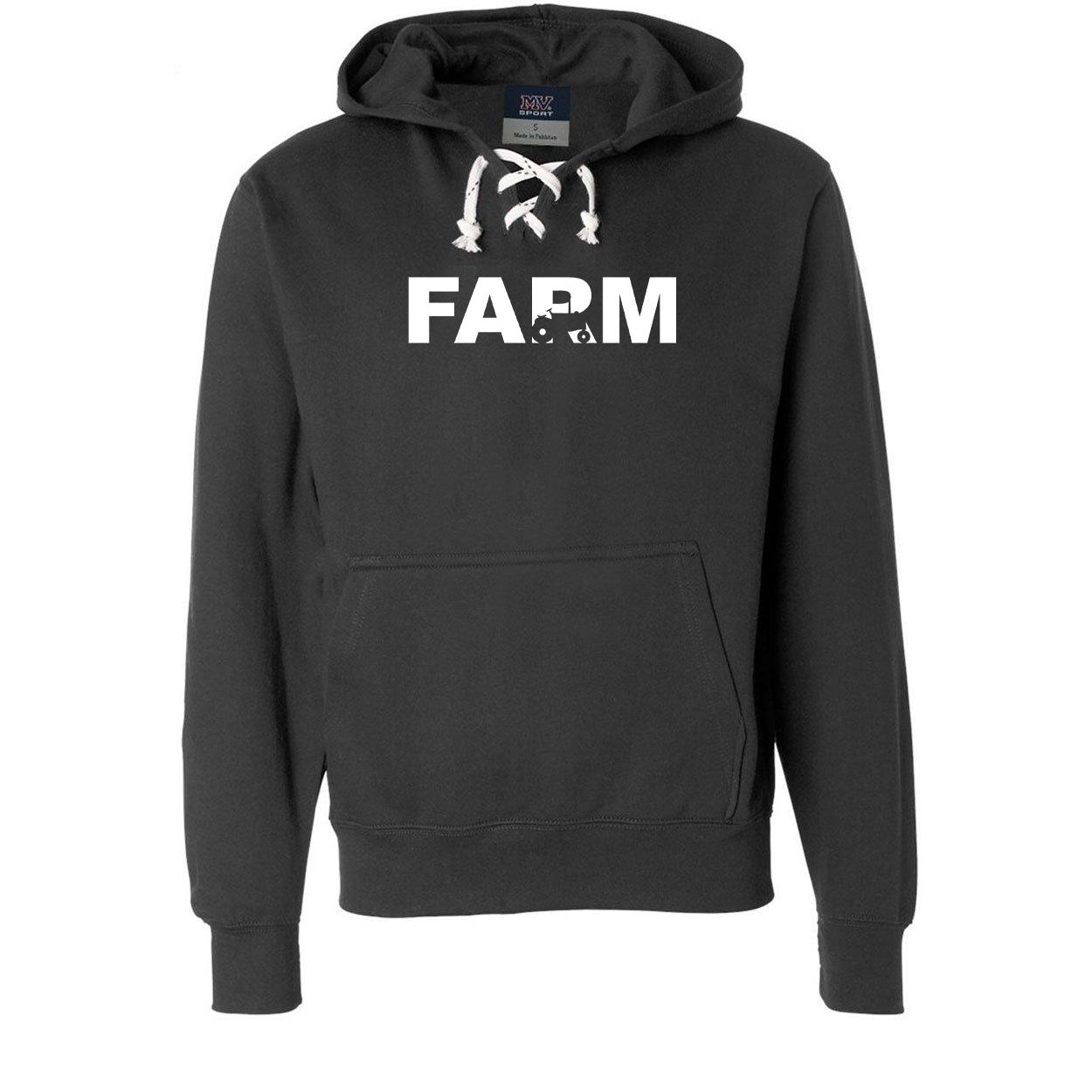Farm Tractor Logo Classic Unisex Premium Hockey Sweatshirt Black (White Logo)