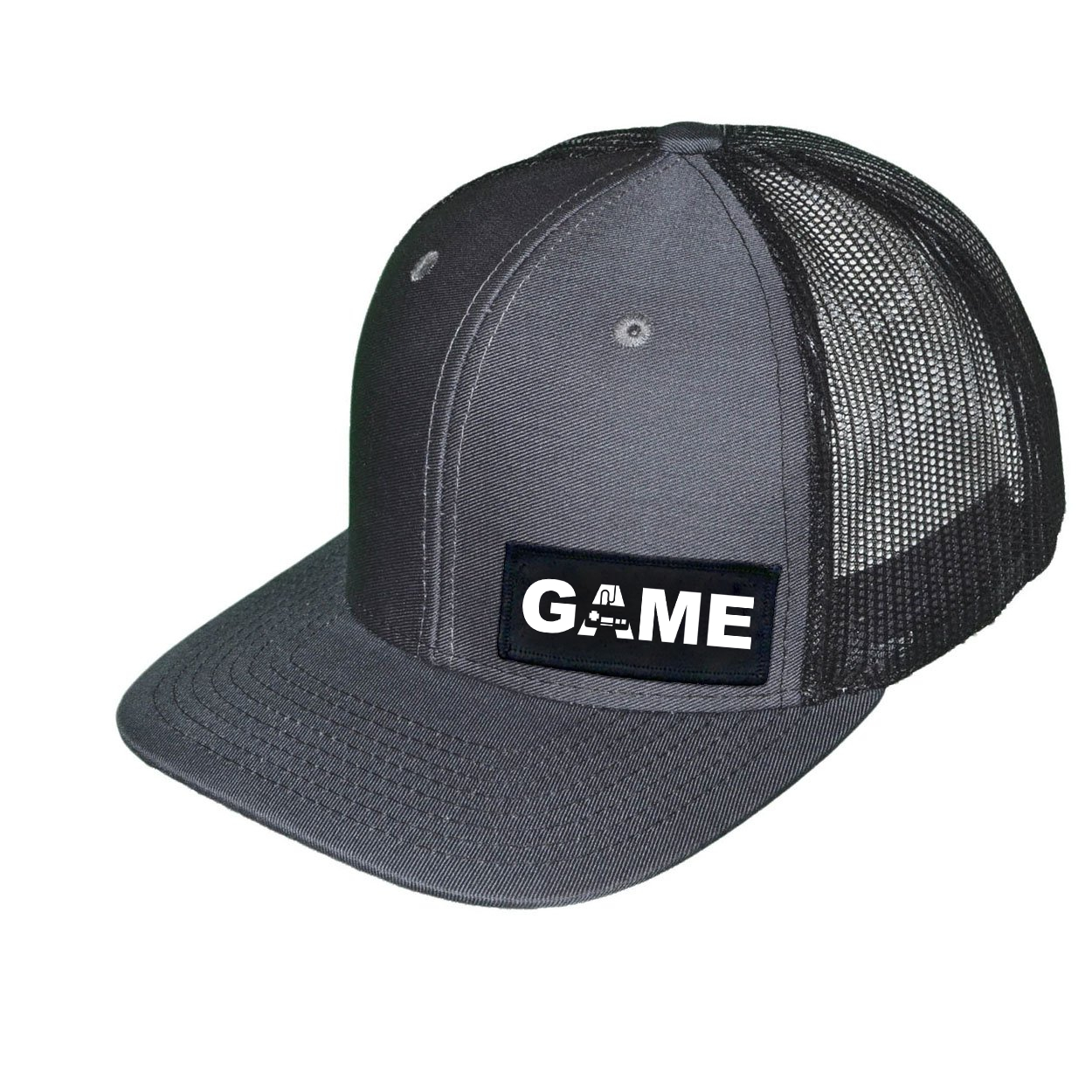Game Controller Logo Night Out Woven Patch Snapback Trucker Hat Dark Gray/Black (White Logo)