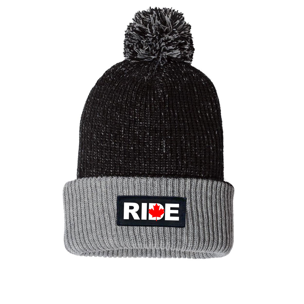 Ride Canada Night Out Woven Patch Roll Up Pom Knit Beanie Black/Gray (White Logo)