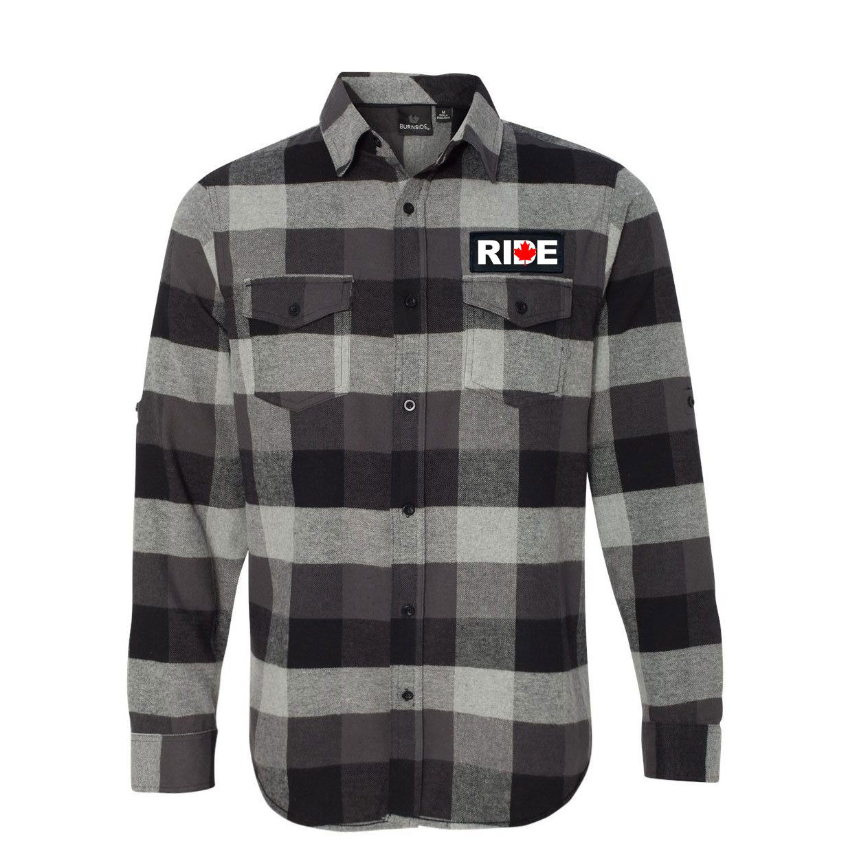 Ride Canada Classic Unisex Long Sleeve Woven Patch Flannel Shirt Black/Gray (White Logo)