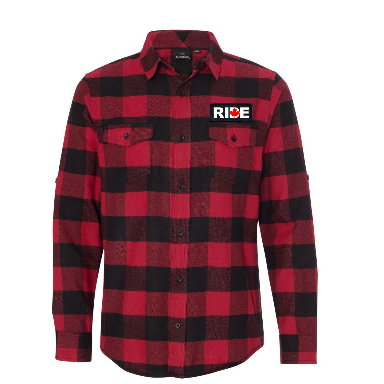 Ride Canada Classic Unisex Long Sleeve Woven Patch Flannel Shirt Red/Black Buffalo (White Logo)