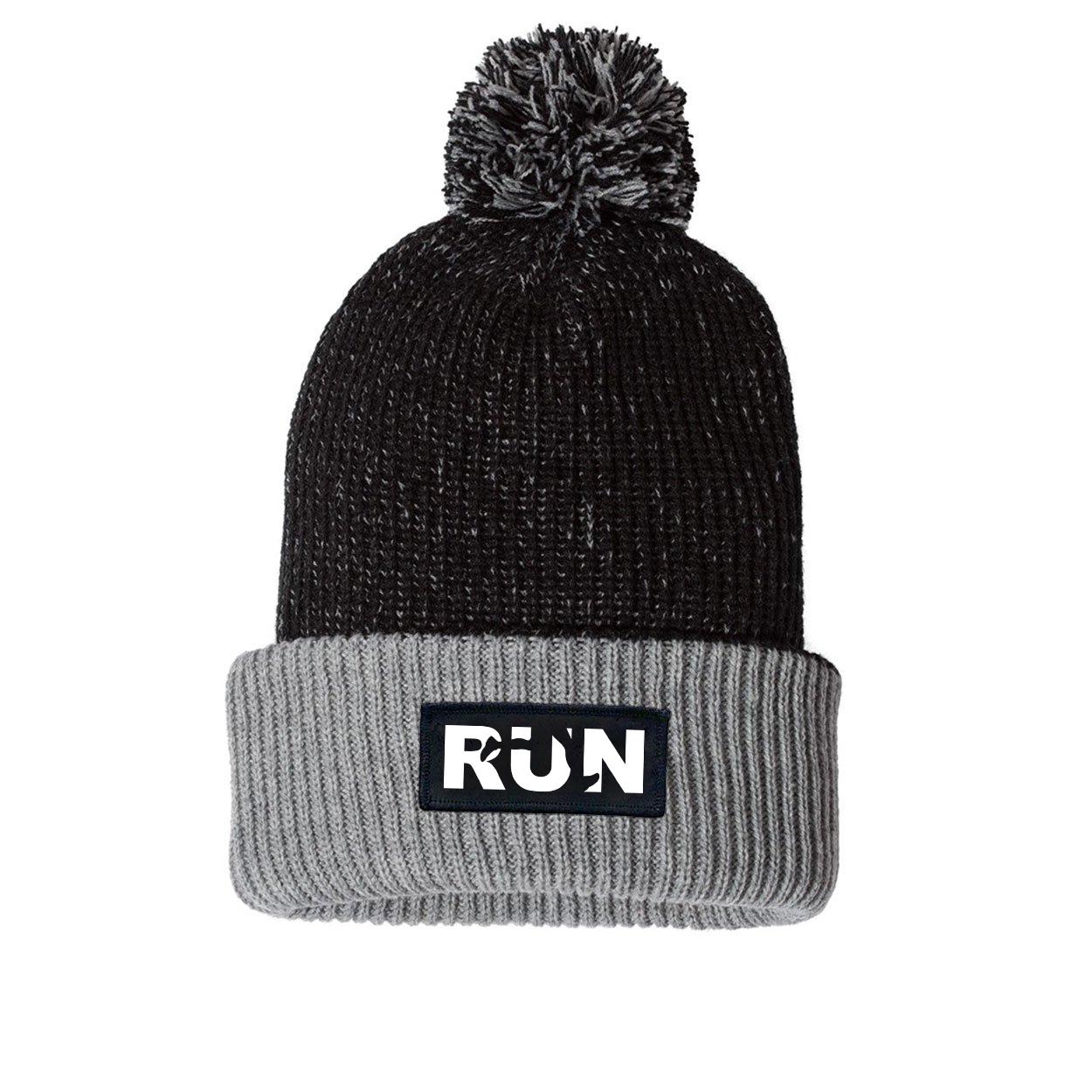 Run Jog Logo Night Out Woven Patch Roll Up Pom Knit Beanie Black/Gray (White Logo)