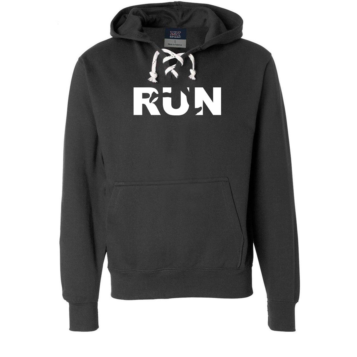 Run Jog Logo Classic Unisex Premium Hockey Sweatshirt Black (White Logo)