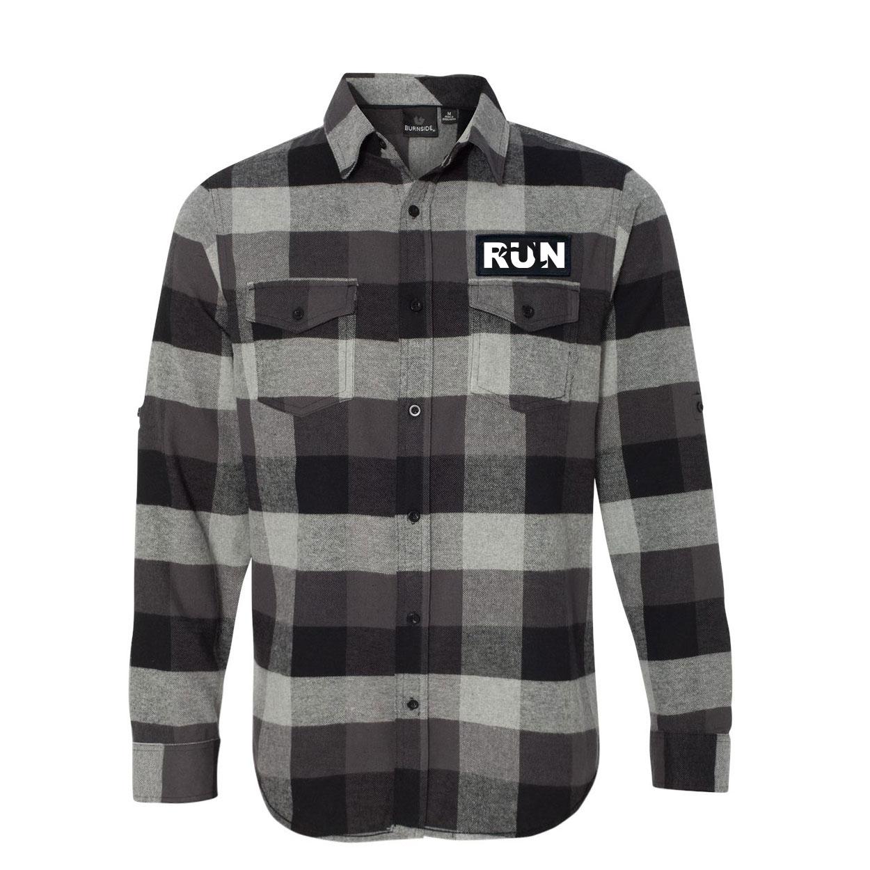 Run Jog Logo Classic Unisex Long Sleeve Woven Patch Flannel Shirt Black/Gray (White Logo)