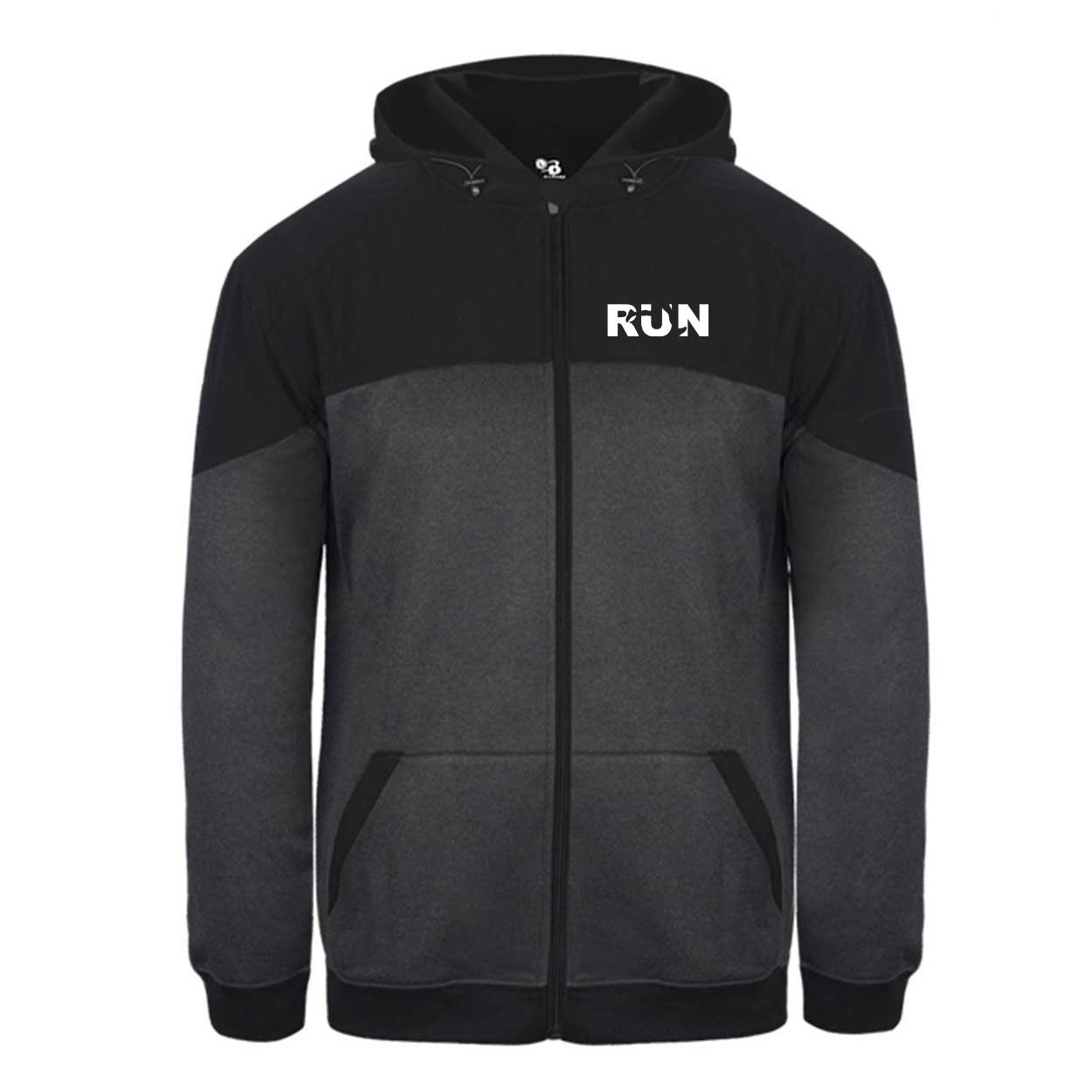 Run Jog Logo Classic Vindicator Jacket Carbon Heather/Black (White Logo)
