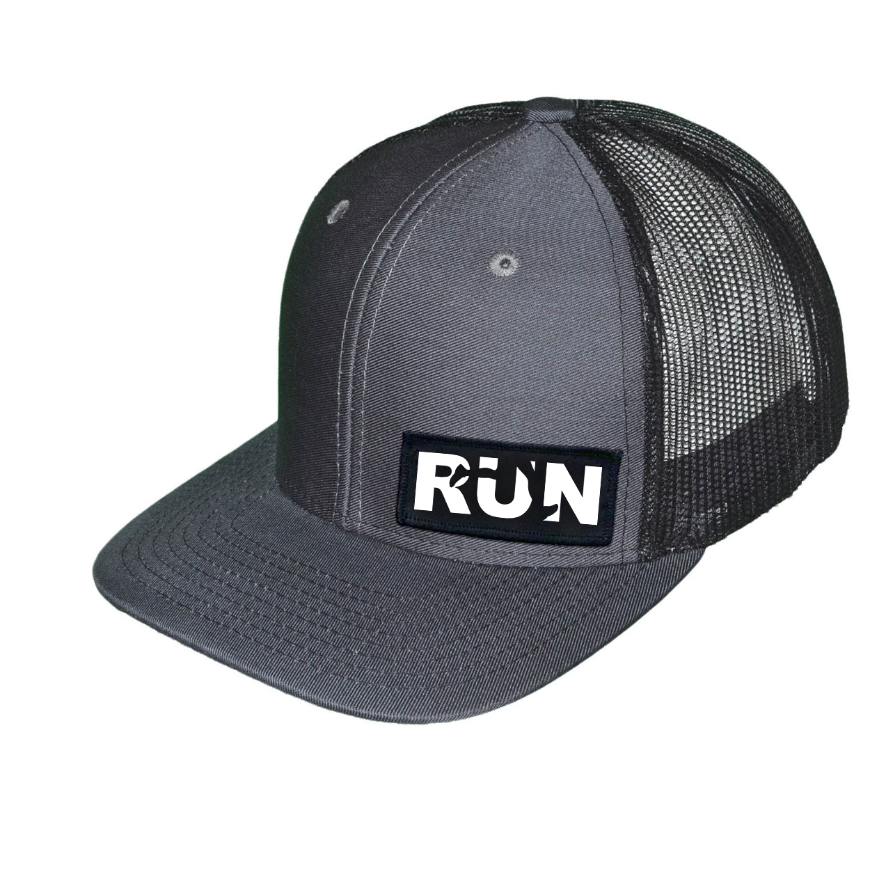Run Jog Logo Night Out Woven Patch Snapback Trucker Hat Dark Gray/Black (White Logo)