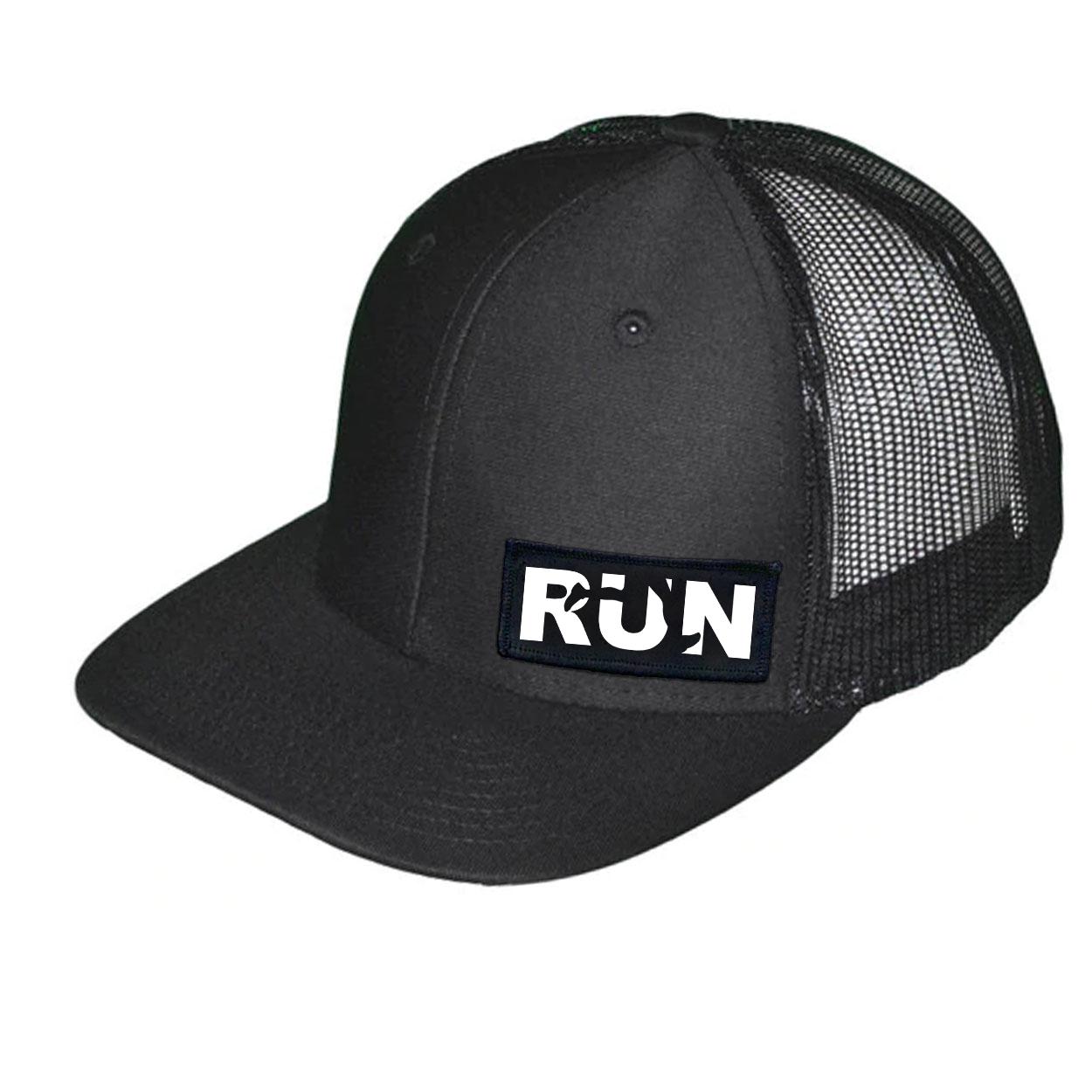 Run Jog Logo Night Out Woven Patch Snapback Trucker Hat Black (White Logo)