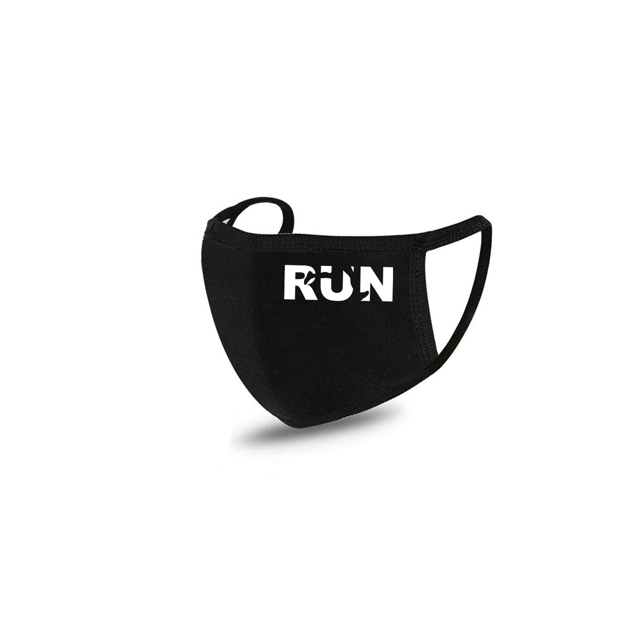 Run Jog Logo Standard Washable Face Mask Black (White Logo)