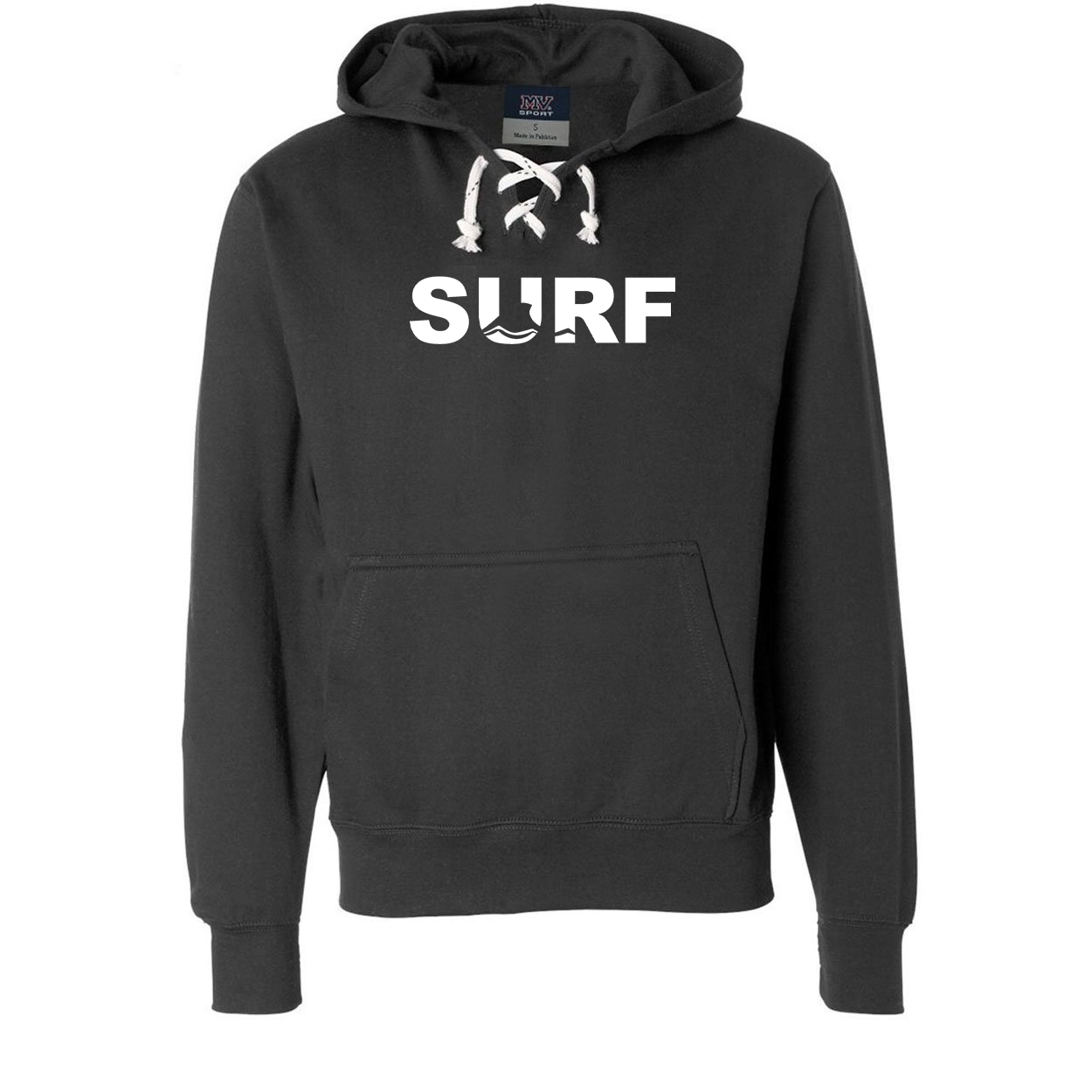 Surf Wave Logo Classic Unisex Premium Hockey Sweatshirt Black (White Logo)