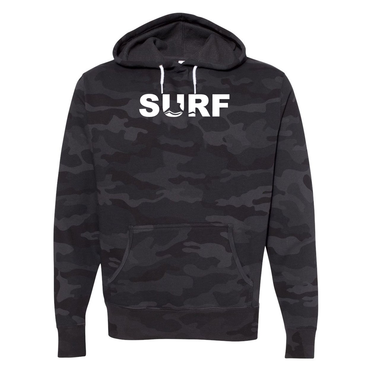 Surf Wave Logo Classic Unisex Hooded Sweatshirt Black Camo (White Logo)