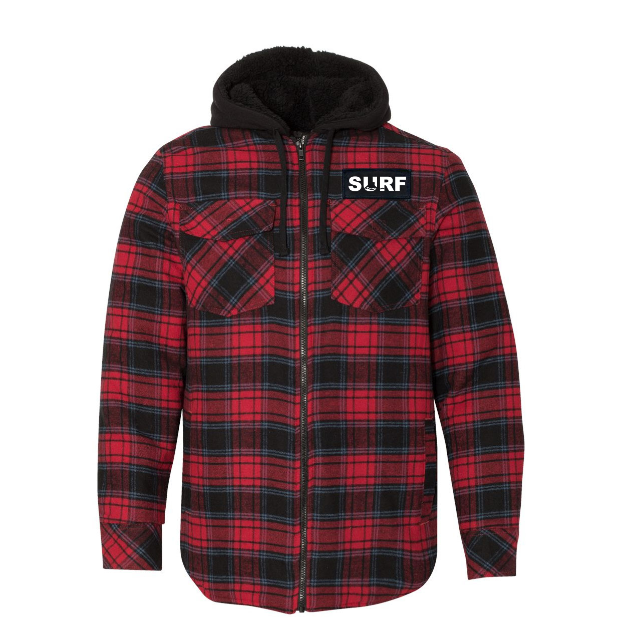 Surf Wave Logo Classic Unisex Full Zip Woven Patch Hooded Flannel Jacket Red/Black Buffalo (White Logo)