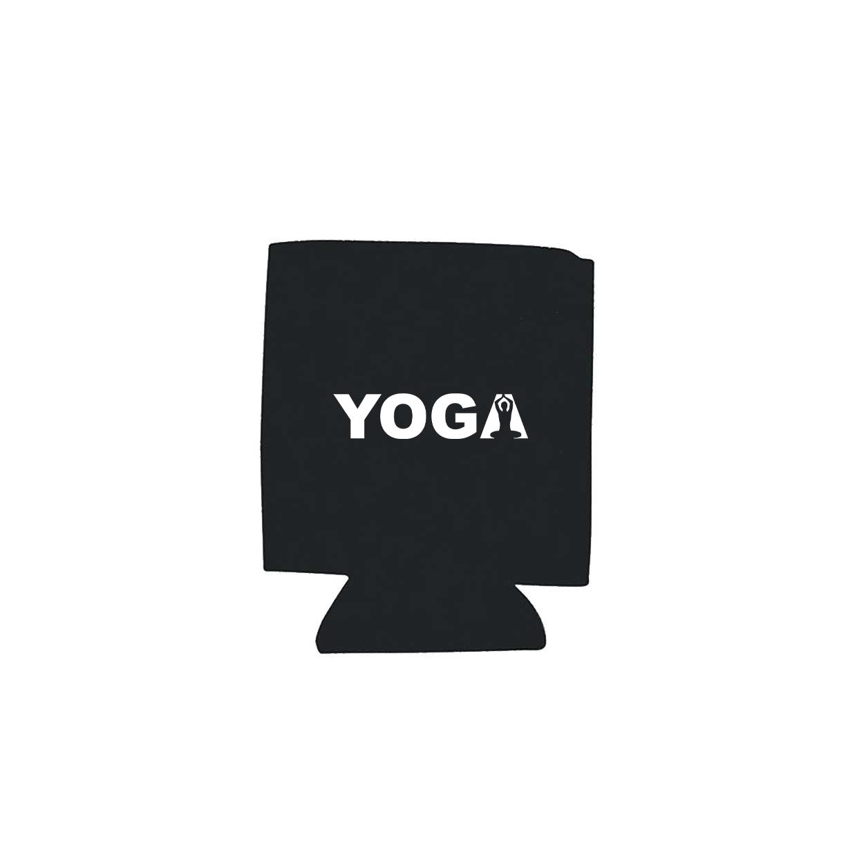 Yoga Meditation Logo Koozie Black (White Logo)