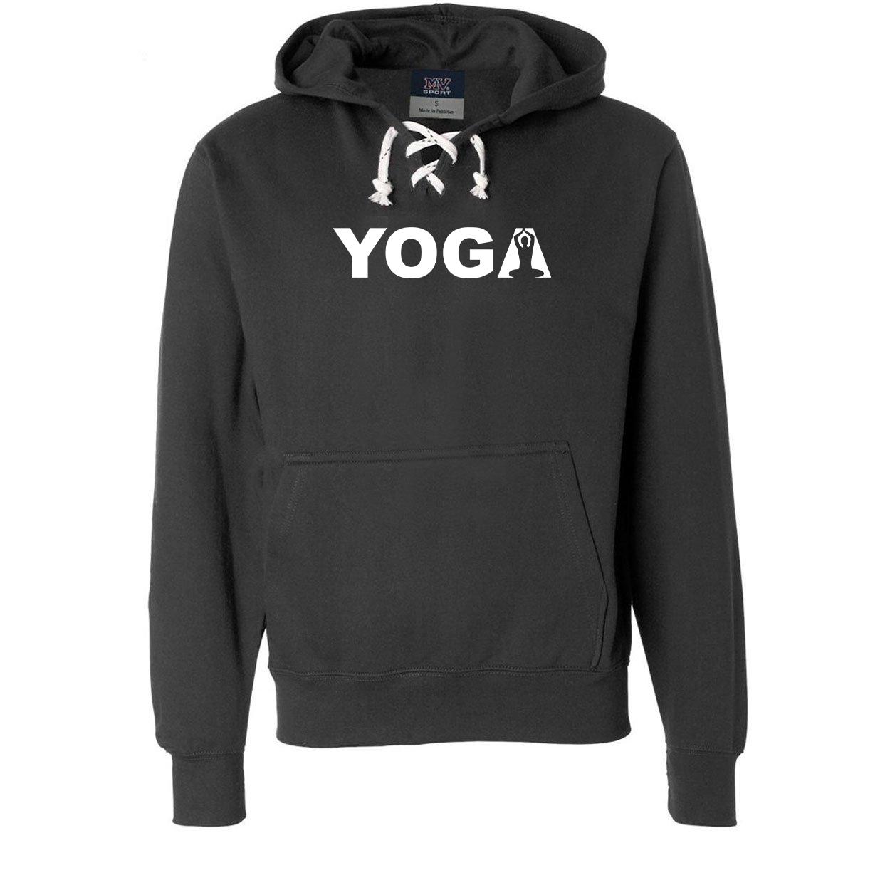 Yoga Meditation Logo Classic Unisex Premium Hockey Sweatshirt Black (White Logo)