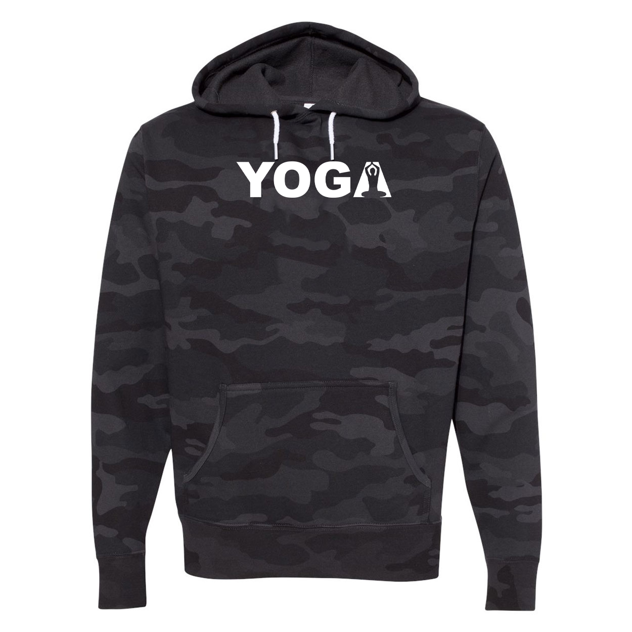 Yoga Meditation Logo Classic Unisex Hooded Sweatshirt Black Camo (White Logo)