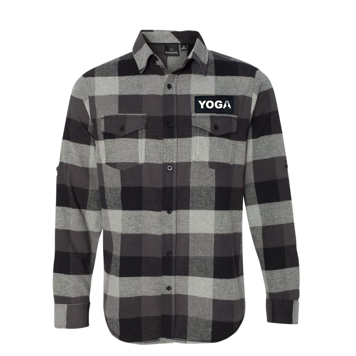 Yoga Meditation Logo Classic Unisex Long Sleeve Woven Patch Flannel Shirt Black/Gray (White Logo)