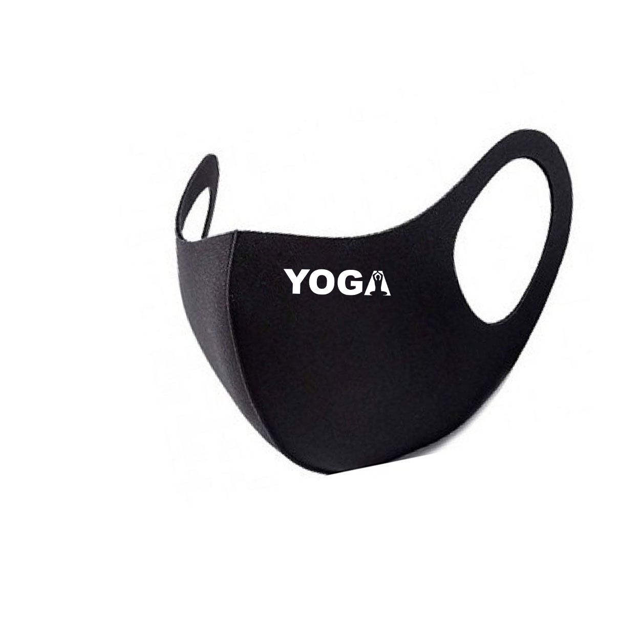 Yoga Meditation Logo Night Out Fitted Washable Face Mask Black (White Logo)