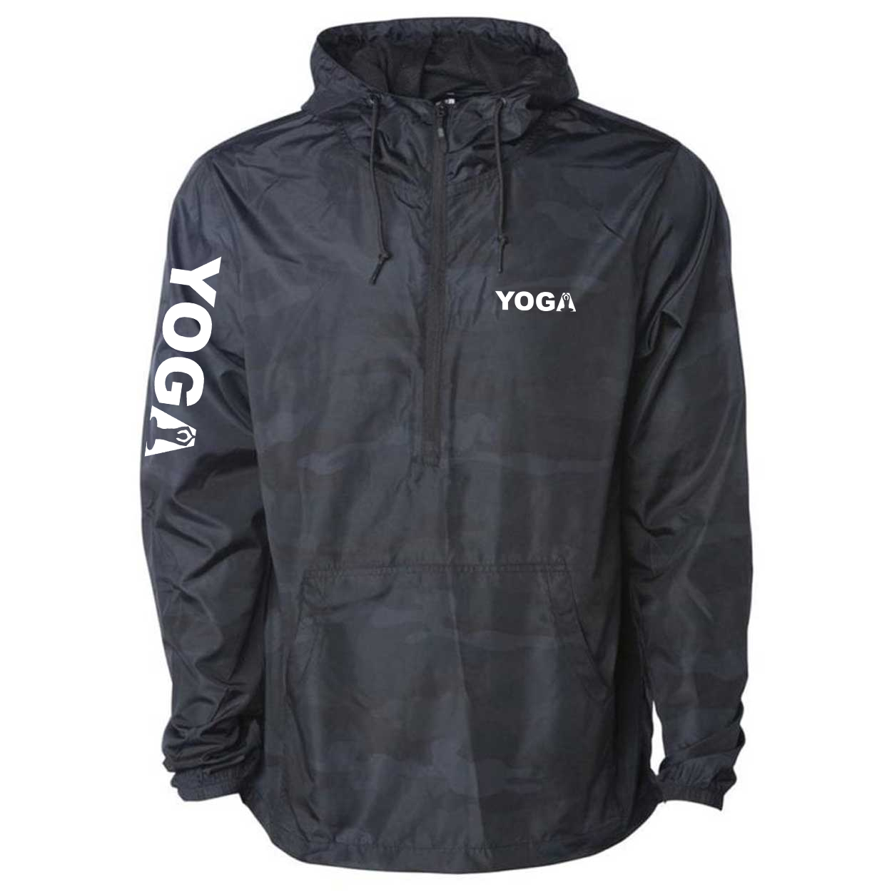 Yoga Meditation Logo Classic Lightweight Pullover Windbreaker Black Camo (White Logo)