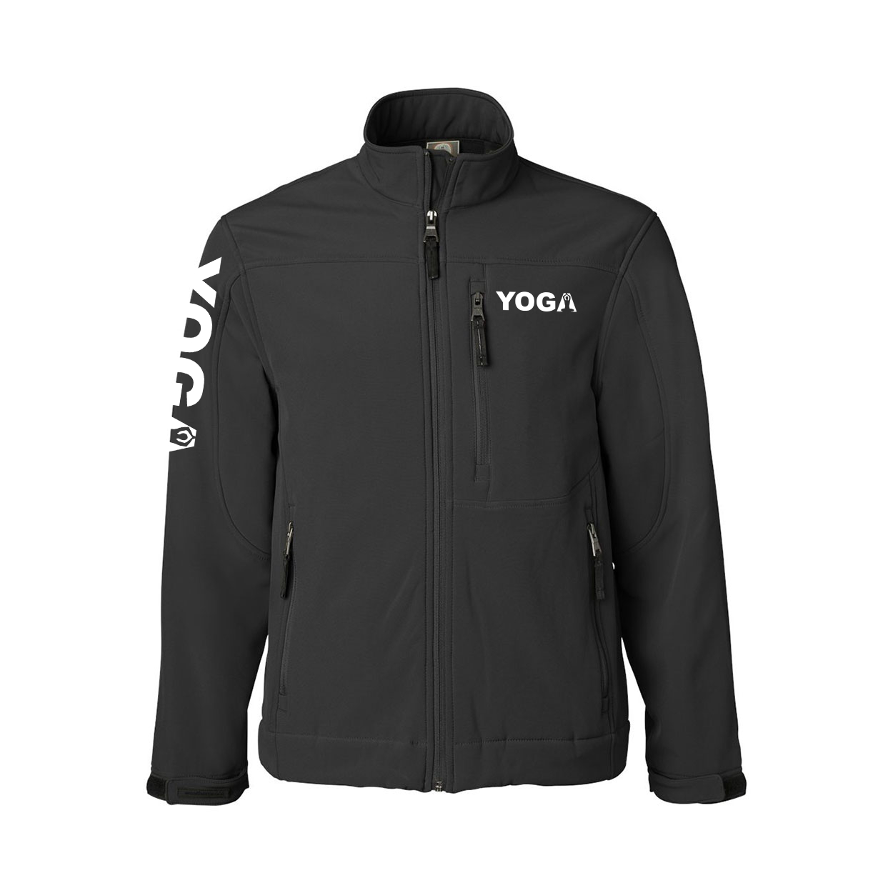 Yoga Meditation Logo Classic Soft Shell Weatherproof Jacket (White Logo)